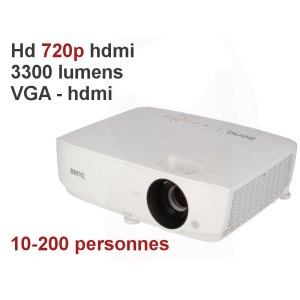 Location d'un videoprojecteur Hd 720p 3300 lumens VGA hdmi