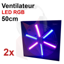 Location Pack 2 ventilateurs LED 50cm 6 pales