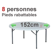Location table ronde 8 personnes pliante