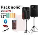 Location Sonorisation 2x350W 80 personnes ou 150m² Bluetooth