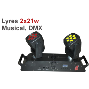 Location double lyre wash à LED full color 42W musical ou DMX